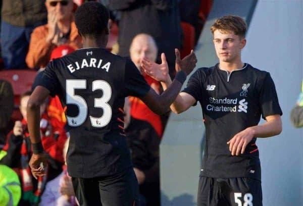 FLEETWOOD, ENGLAND - Wednesday, July 13, 2016: Liverpool's 58 celebrates scoring the second goal against Fleetwood Town during a friendly match at Highbury Stadium. (Pic by David Rawcliffe/Propaganda)