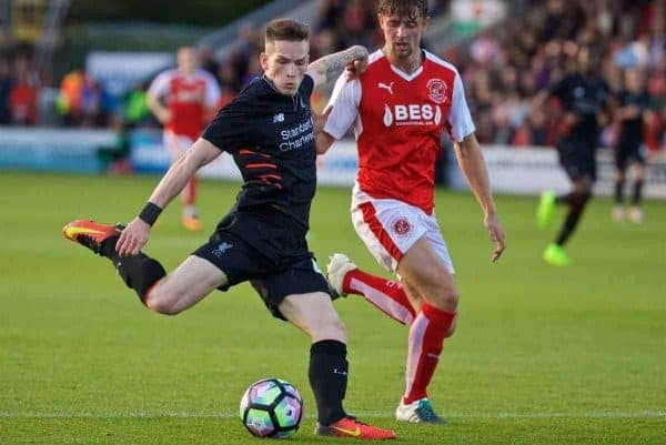 FLEETWOOD, ENGLAND - Wednesday, July 13, 2016: Liverpool's Ryan Kent in action against Fleetwood Town during a friendly match at Highbury Stadium. (Pic by David Rawcliffe/Propaganda)