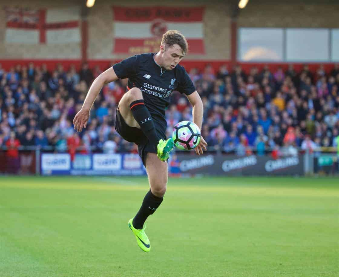 FLEETWOOD, ENGLAND - Wednesday, July 13, 2016: Liverpool's Connor Randall in action against Fleetwood Town during a friendly match at Highbury Stadium. (Pic by David Rawcliffe/Propaganda)