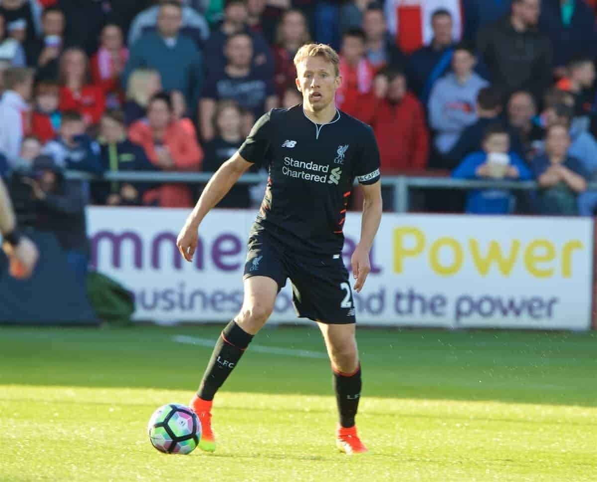 FLEETWOOD, ENGLAND - Wednesday, July 13, 2016: Liverpool's Lucas Leiva in action against Fleetwood Town during a friendly match at Highbury Stadium. (Pic by David Rawcliffe/Propaganda)