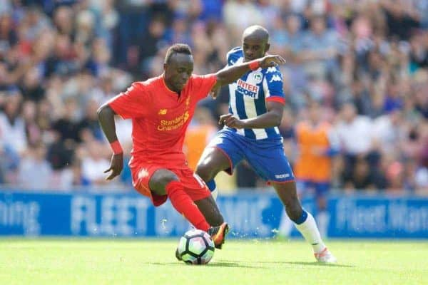 WIGAN, ENGLAND - Sunday, July 17, 2016: Liverpool's Sadio Mane in action against Wigan Athletic during a pre-season friendly match at the DW Stadium. (Pic by David Rawcliffe/Propaganda)