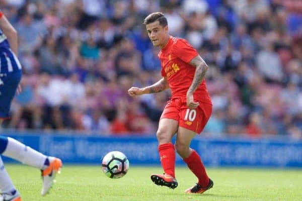 WIGAN, ENGLAND - Sunday, July 17, 2016: Liverpool's Philippe Coutinho Correia in action against Wigan Athletic during a pre-season friendly match at the DW Stadium. (Pic by David Rawcliffe/Propaganda)