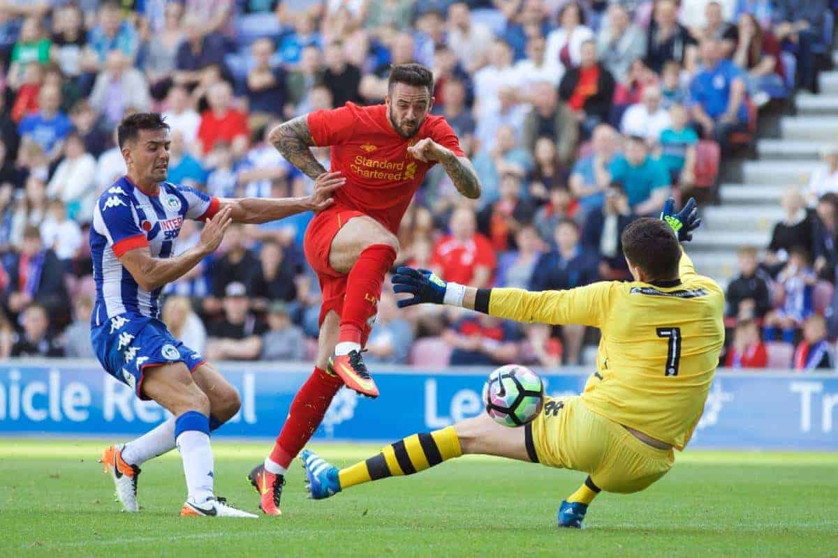 WIGAN, ENGLAND - Sunday, July 17, 2016: Liverpool's Danny Ings scores the first goal against Wigan Athletic during a pre-season friendly match at the DW Stadium. (Pic by David Rawcliffe/Propaganda)
