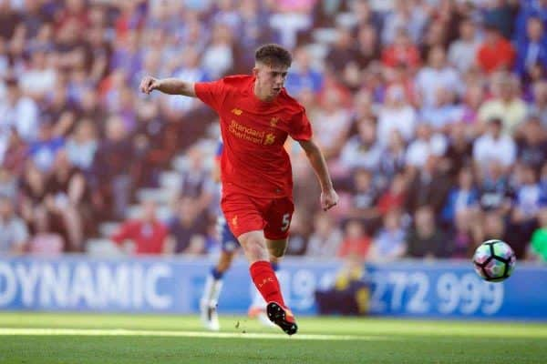 WIGAN, ENGLAND - Sunday, July 17, 2016: Liverpool's Ben Woodburn scores the second goal against Wigan Athletic during a pre-season friendly match at the DW Stadium. (Pic by David Rawcliffe/Propaganda)