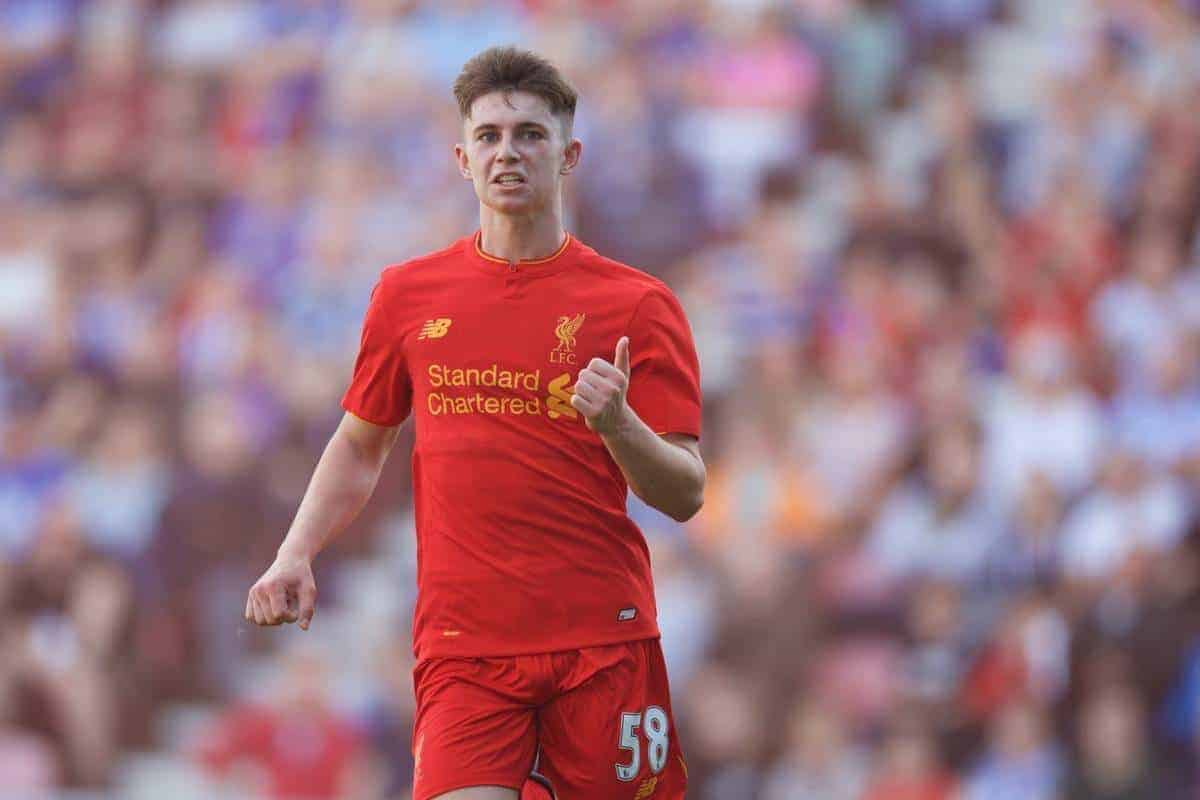 WIGAN, ENGLAND - Sunday, July 17, 2016: Liverpool's Ben Woodburn celebrates scoring the second goal against Wigan Athletic during a pre-season friendly match at the DW Stadium. (Pic by David Rawcliffe/Propaganda)