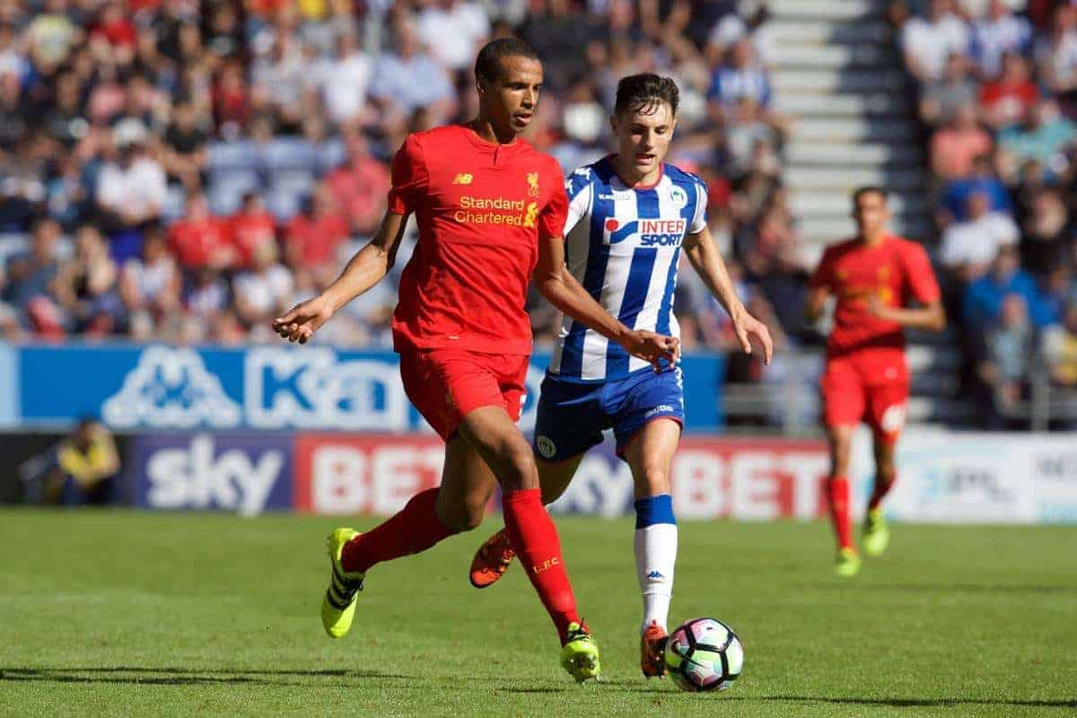 WIGAN, ENGLAND - Sunday, July 17, 2016: Liverpool's Joel Matip in action against Wigan Athletic during a pre-season friendly match at the DW Stadium. (Pic by David Rawcliffe/Propaganda)