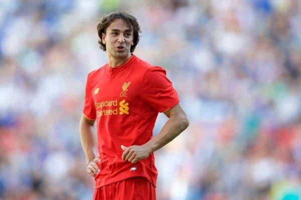 WIGAN, ENGLAND - Sunday, July 17, 2016: Liverpool's Lazar Markovic in action against Wigan Athletic during a pre-season friendly match at the DW Stadium. (Pic by David Rawcliffe/Propaganda)