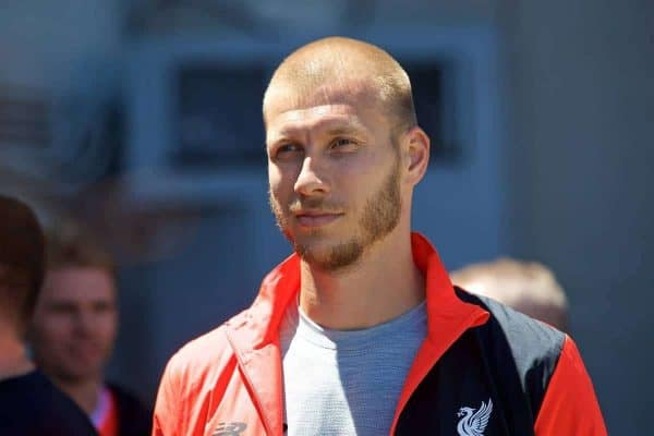 SAN FRANCISCO, USA - Thursday, July 21, 2016: Liverpool's new signing Ragnar Klavan waits as the team takes a cruise to Alcatraz Island from Pier 33 to visit the prison on day one of the club's USA Pre-season Tour. (Pic by David Rawcliffe/Propaganda)