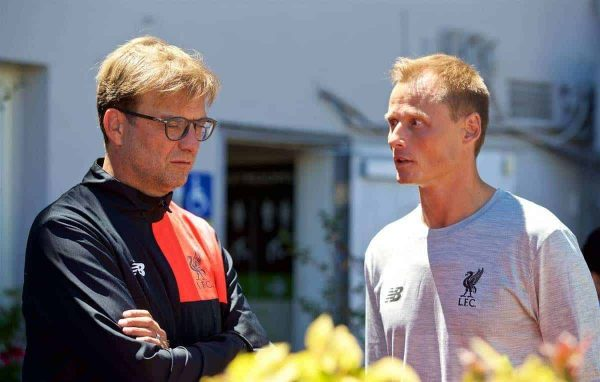 Liverpool's manager Jürgen Klopp and new goalkeeper Alex Manninger wait as the team takes a cruise to Alcatraz Island from Pier 33 to visit the prison on day one of the club's USA Pre-season Tour