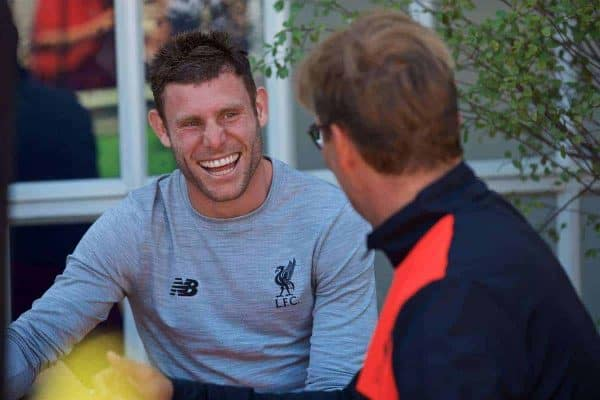 SAN FRANCISCO, USA - Thursday, July 21, 2016: Liverpool's James Milner chats with manager Jürgen Klopp and the team take a cruise to Alcatraz Island from Pier 33 to visit the prison on day one of the club's USA Pre-season Tour. (Pic by David Rawcliffe/Propaganda)