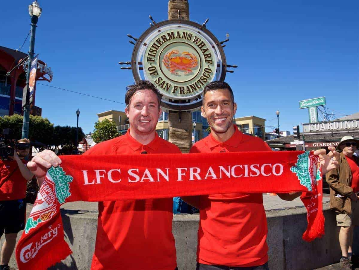 SAN FRANCISCO, USA - Friday, July 22, 2016: Liverpool's Ambassador Robbie Fowler and Legend Luis Garcia visit Fisherman's Wharf on day two of the club's USA Pre-season Tour. (Pic by David Rawcliffe/Propaganda)