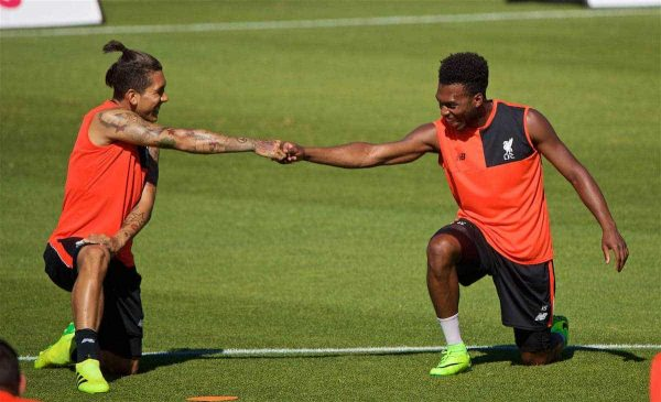 STANFORD, USA - Saturday, July 23, 2016: Liverpool's Daniel Sturridge and Roberto Firmino during a training session in the Laird Q. Cagan Stadium at Stanford University on day one of the club's USA Pre-season Tour. (Pic by David Rawcliffe/Propaganda)