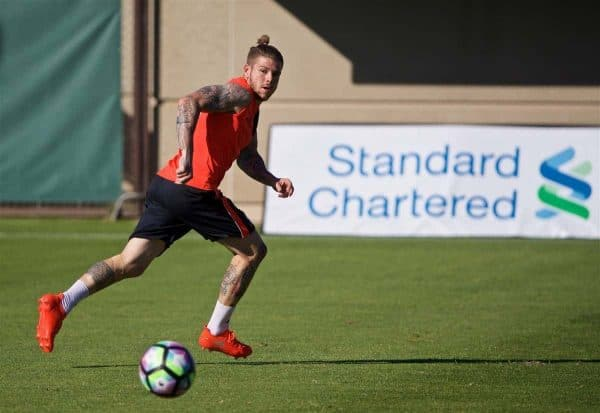 STANFORD, USA - Saturday, July 23, 2016: Liverpool's Alberto Moreno during a training session in the Laird Q. Cagan Stadium at Stanford University on day one of the club's USA Pre-season Tour. (Pic by David Rawcliffe/Propaganda)