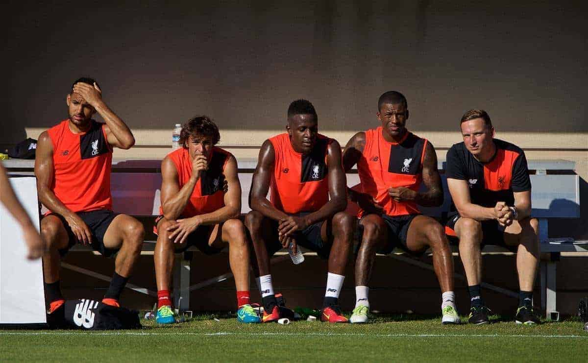 STANFORD, USA - Saturday, July 23, 2016: Liverpool's Kevin Stewart, Lazar Markovic, Divock Origi, Georginio Wijnaldum and first-team development coach Pepijn Lijnders during a training session in the Laird Q. Cagan Stadium at Stanford University on day one of the club's USA Pre-season Tour. (Pic by David Rawcliffe/Propaganda)