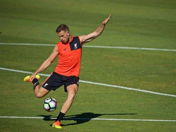 STANFORD, USA - Saturday, July 23, 2016: Liverpool's captain Jordan Henderson during a training session in the Laird Q. Cagan Stadium at Stanford University on day one of the club's USA Pre-season Tour. (Pic by David Rawcliffe/Propaganda)