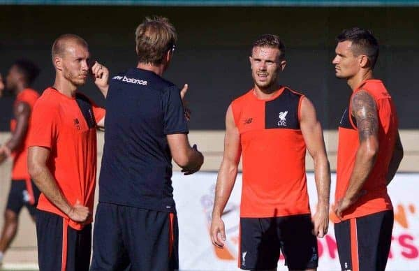 Liverpool's Ragnar Klavan, captain Jordan Henderson and Dejan Lovren with manager J¸rgen Klopp during a training session in the Laird Q. Cagan Stadium at Stanford University on day one of the club's USA Pre-season Tour. (Pic by David Rawcliffe/Propaganda)