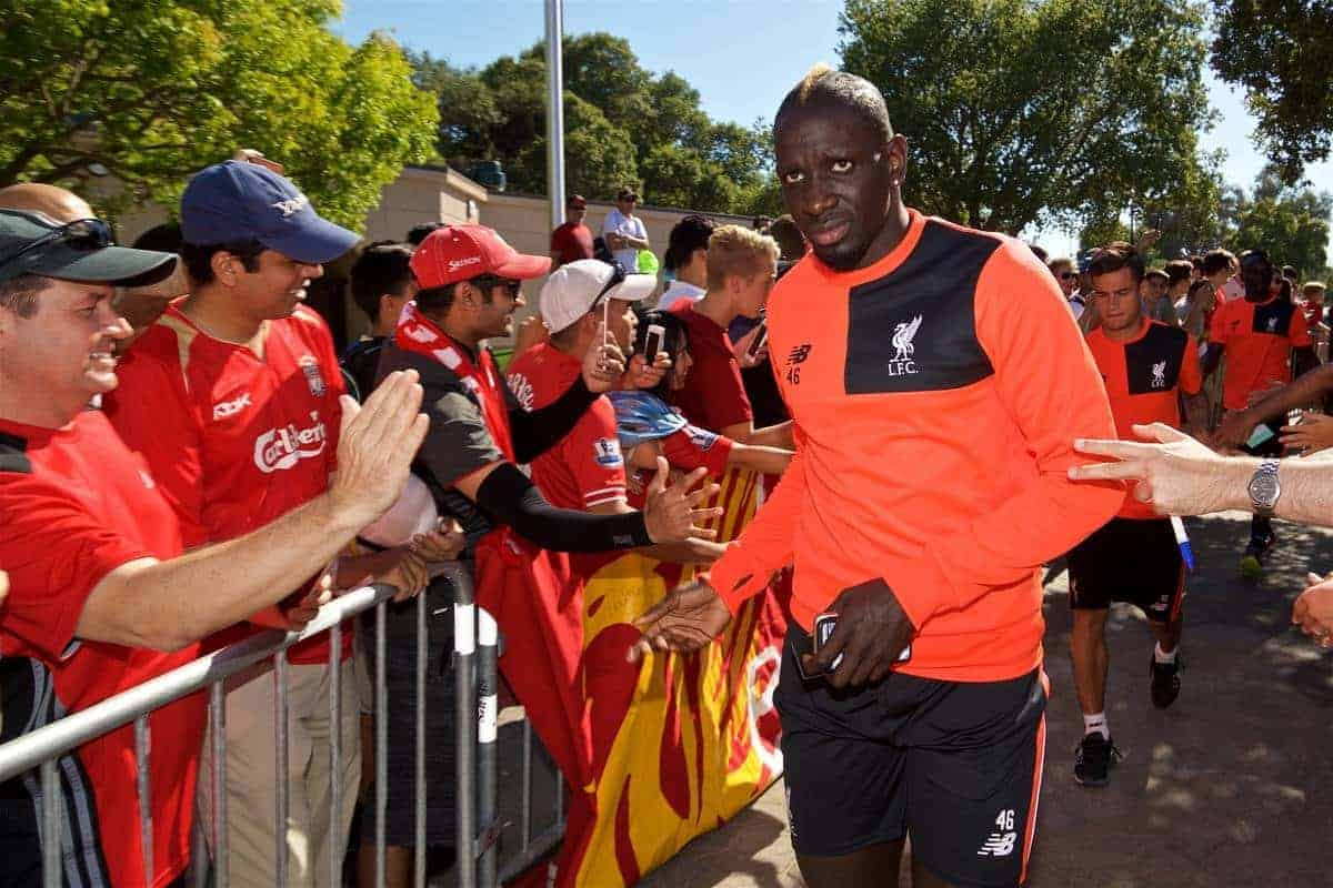 STANFORD, USA - Sunday, July 24, 2016: Liverpool's Mamadou Sakho arrives for training session in the Laird Q. Cagan Stadium at Stanford University on day four of the club's USA Pre-season Tour. (Pic by David Rawcliffe/Propaganda)