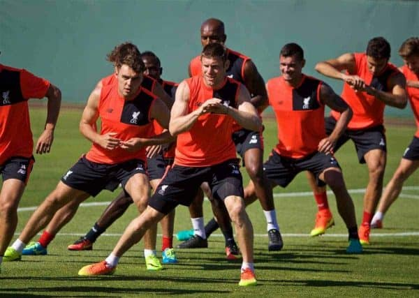 Liverpool's James Milner during a training session in the Laird Q. Cagan Stadium at Stanford University on day four of the club's USA Pre-season Tour. (Pic by David Rawcliffe/Propaganda)