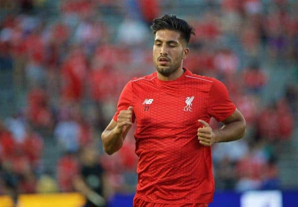PASADENA, USA - Wednesday, July 27, 2016: Liverpool's Emre Can undertakes a fitness test before the International Champions Cup 2016 game against Chelsea on day seven of the club's USA Pre-season Tour at the Rose Bowl. (Pic by David Rawcliffe/Propaganda)