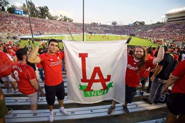 PASADENA, USA - Wednesday, July 27, 2016: Liverpool supporters before the International Champions Cup 2016 game against Chelsea on day seven of the club's USA Pre-season Tour at the Rose Bowl. (Pic by David Rawcliffe/Propaganda)
