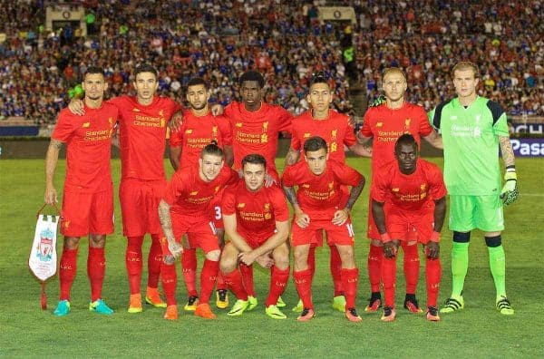 PASADENA, USA - Wednesday, July 27, 2016: Liverpool's xxxx in action against Chelsea during the International Champions Cup 2016 game on day seven of the club's USA Pre-season Tour at the Rose Bowl. (Pic by David Rawcliffe/Propaganda)