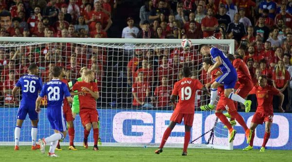 PASADENA, USA - Wednesday, July 27, 2016: Chelsea's Gary Cahill scores the first goal against Liverpool during the International Champions Cup 2016 game on day seven of the club's USA Pre-season Tour at the Rose Bowl. (Pic by David Rawcliffe/Propaganda)