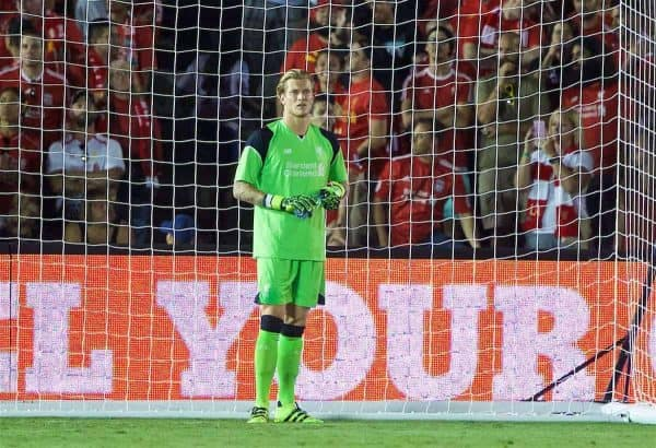 Liverpool's goalkeeper Loris Karius looks dejected as Chelsea score the opening goal during the International Champions Cup 2016 game on day seven of the club's USA Pre-season Tour at the Rose Bowl. (Pic by David Rawcliffe/Propaganda)