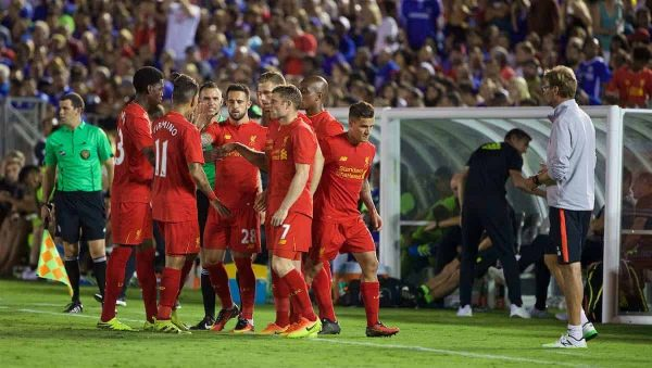 PASADENA, USA - Wednesday, July 27, 2016: Liverpool's Oviemuno Ejaria and Roberto Firmino are replaced as Liverpool makes five substitutes against Chelsea during the International Champions Cup 2016 game on day seven of the club's USA Pre-season Tour at the Rose Bowl. (Pic by David Rawcliffe/Propaganda)