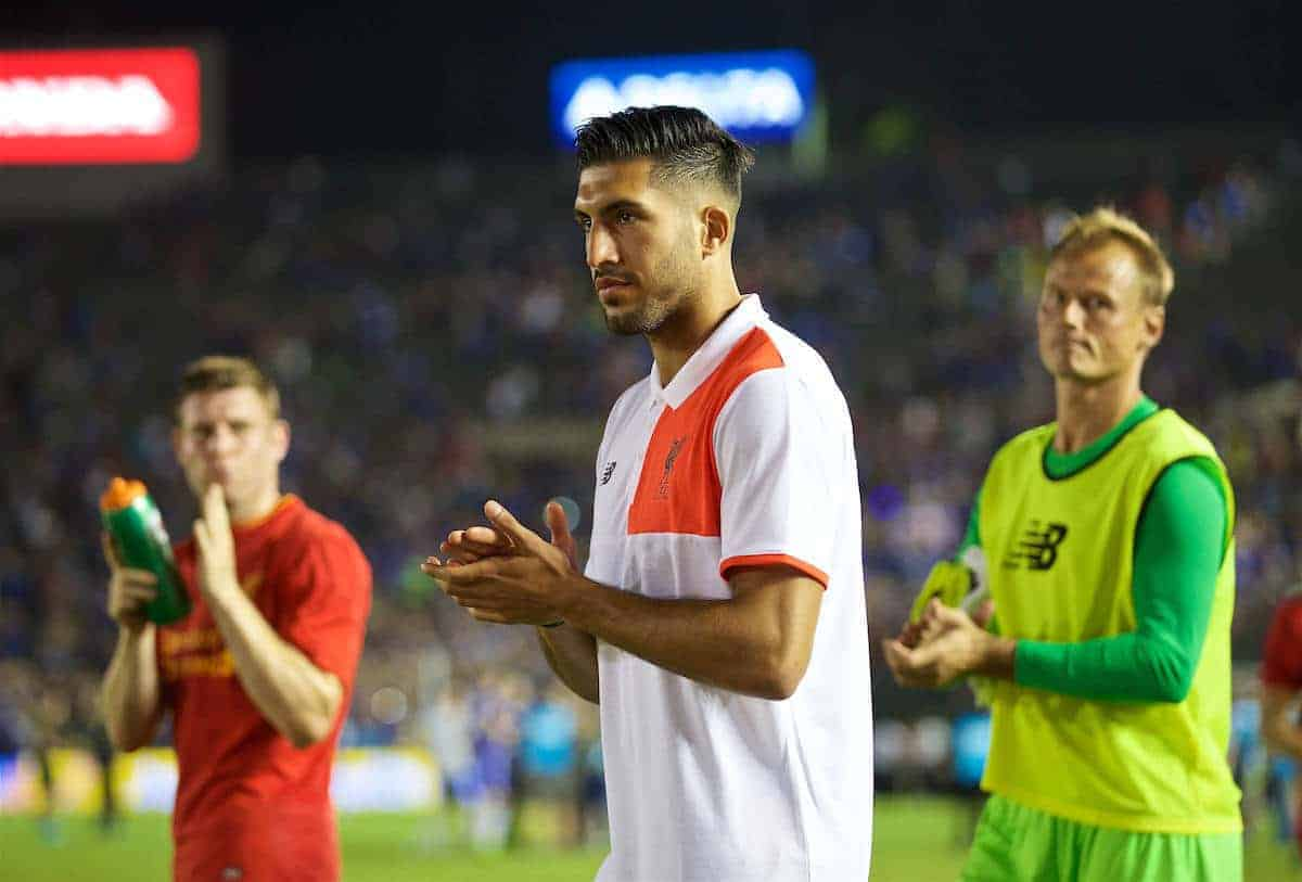 PASADENA, USA - Wednesday, July 27, 2016: Liverpool's Emre Can after the 1-0 defeat to Chelsea during the International Champions Cup 2016 game on day seven of the club's USA Pre-season Tour at the Rose Bowl. (Pic by David Rawcliffe/Propaganda)