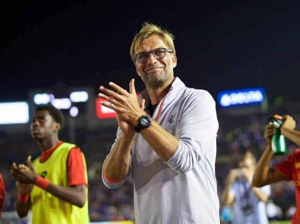 PASADENA, USA - Wednesday, July 27, 2016: Liverpool's manager Jürgen Klopp after the 1-0 defeat to Chelsea during the International Champions Cup 2016 game on day seven of the club's USA Pre-season Tour at the Rose Bowl. (Pic by David Rawcliffe/Propaganda)