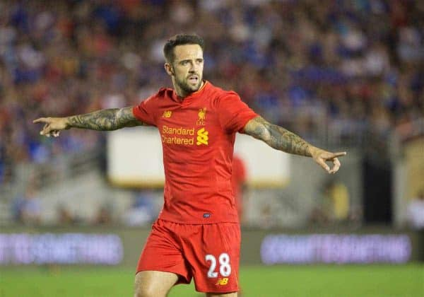 Liverpool's Danny Ings in action against Chelsea during the International Champions Cup 2016 game on day seven of the club's USA Pre-season Tour at the Rose Bowl. (Pic by David Rawcliffe/Propaganda)