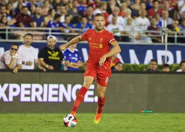 Liverpool's captain Jordan Henderson in action against Chelsea during the International Champions Cup 2016 game on day seven of the club's USA Pre-season Tour at the Rose Bowl. (Pic by David Rawcliffe/Propaganda)