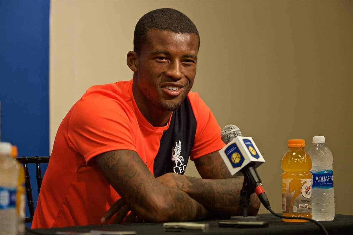 SANTA CLARA, USA - Friday, July 29, 2016: Liverpool's Georginio Wijnaldum during a press conference ahead of the International Champions Cup 2016 game against AC Milan on day nine of the club's USA Pre-season Tour at the Levi's Stadium. (Pic by David Rawcliffe/Propaganda)