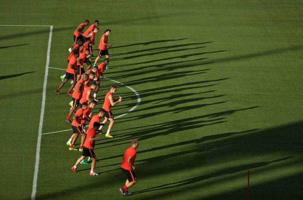 SANTA CLARA, USA - Friday, July 29, 2016: Liverpool players during a training session ahead of the International Champions Cup 2016 game against AC Milan on day nine of the club's USA Pre-season Tour at the Levi's Stadium. (Pic by David Rawcliffe/Propaganda)