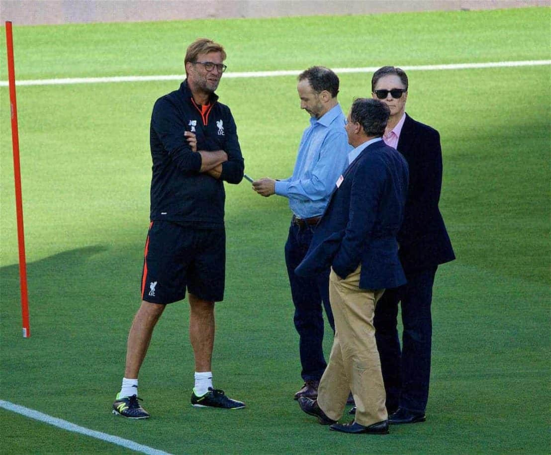 Liverpool's manager Jürgen Klopp chats with co-owner and NESV Chairman Tom Werner, owner John W. Henry and Director Michael Gordon during a training session ahead of the International Champions Cup 2016 game against AC Milan on day nine of the club's USA Pre-season Tour at the Levi's Stadium. (Pic by David Rawcliffe/Propaganda)