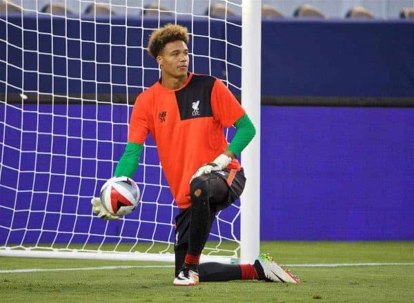 SANTA CLARA, USA - Friday, July 29, 2016: Liverpool's goalkeeper Shamal George during a training session ahead of the International Champions Cup 2016 game against AC Milan on day nine of the club's USA Pre-season Tour at the Levi's Stadium. (Pic by David Rawcliffe/Propaganda)