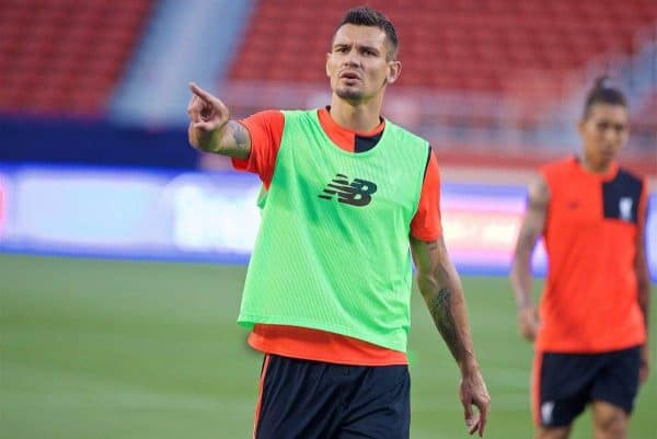 SANTA CLARA, USA - Friday, July 29, 2016: Liverpool's Dejan Lovren during a training session ahead of the International Champions Cup 2016 game against AC Milan on day nine of the club's USA Pre-season Tour at the Levi's Stadium. (Pic by David Rawcliffe/Propaganda)