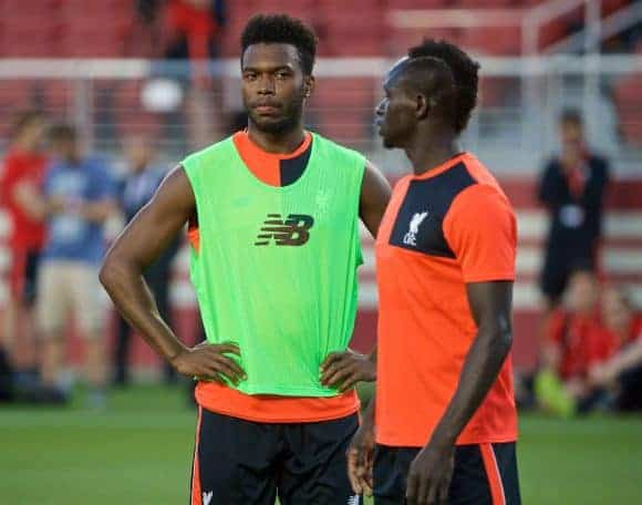 SANTA CLARA, USA - Friday, July 29, 2016: Liverpool's Daniel Sturridge and Sadio Mane during a training session ahead of the International Champions Cup 2016 game against AC Milan on day nine of the club's USA Pre-season Tour at the Levi's Stadium. (Pic by David Rawcliffe/Propaganda)