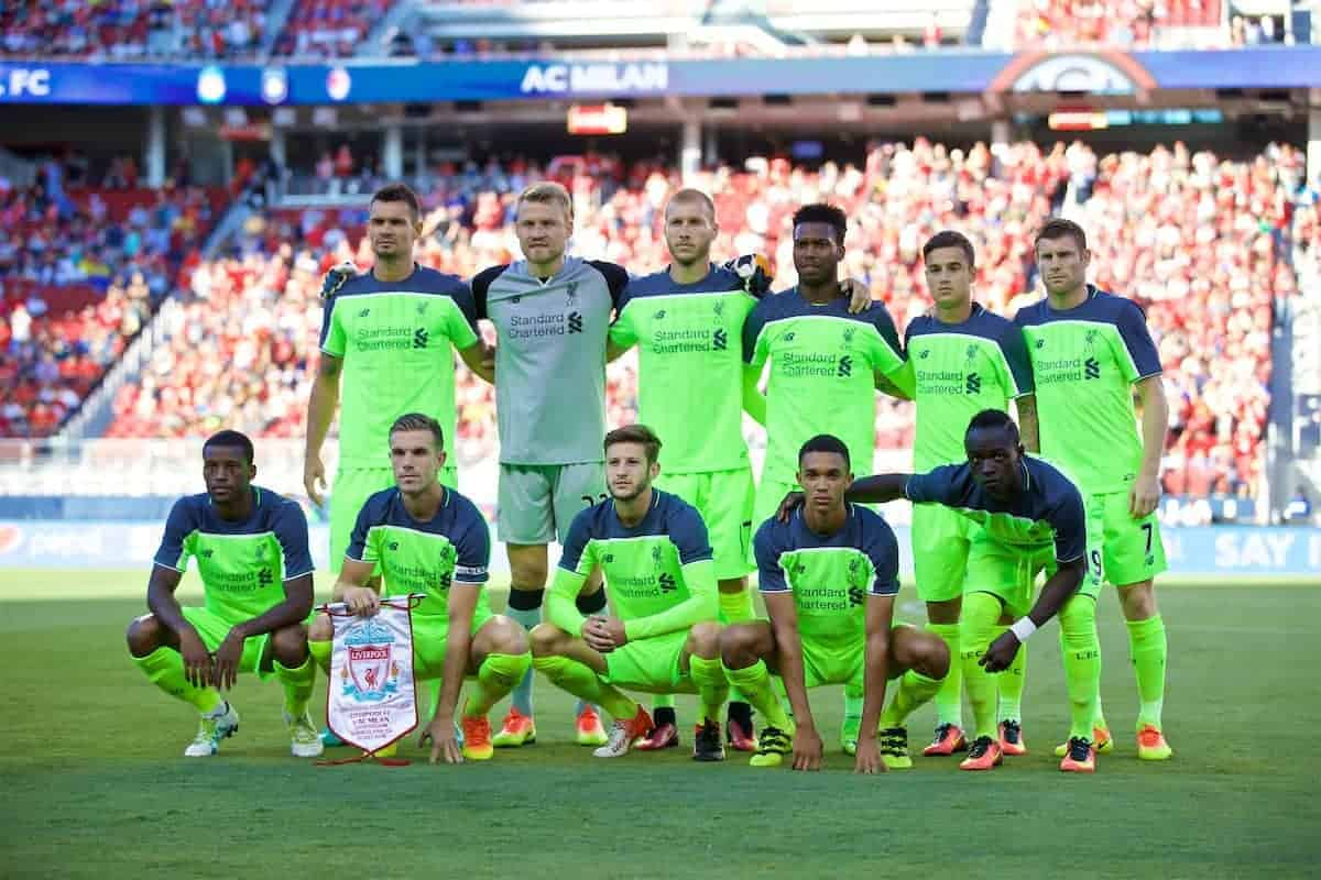 SANTA CLARA, USA - Saturday, July 30, 2016: Liverpool's players line up for a team group photograph before the International Champions Cup 2016 game on day ten of the club's USA Pre-season Tour at the Levi's Stadium. Back row L-R: Dejan Lovren, goalkeeper Simon Mignolet, Ragnar Klavan, Daniel Sturridge Philippe Coutinho Correia, James Milner. Front row L-R: Georginio Wijnaldum, captain Jordan Henderson, Adam Lallana, Trent Alexander-Arnold, Sadio Mane. (Pic by David Rawcliffe/Propaganda)