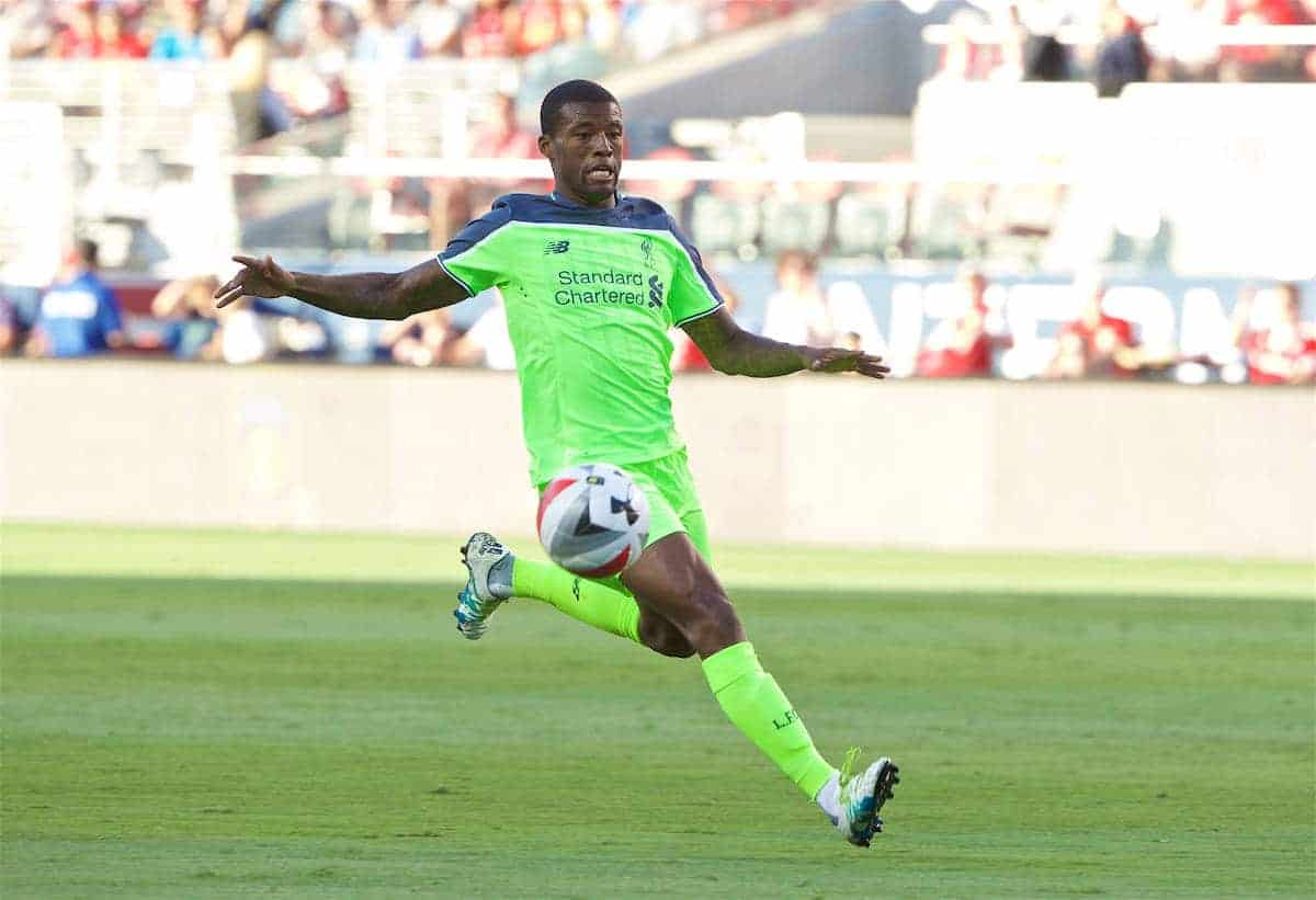 SANTA CLARA, USA - Saturday, July 30, 2016: Liverpool's Georginio Wijnaldum in action against AC Milan during the International Champions Cup 2016 game on day ten of the club's USA Pre-season Tour at the Levi's Stadium. (Pic by David Rawcliffe/Propaganda)