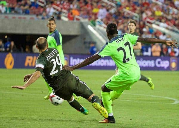 SANTA CLARA, USA - Saturday, July 30, 2016: Liverpool's Divock Origi scores the first goal against AC Milan during the International Champions Cup 2016 game on day ten of the club's USA Pre-season Tour at the Levi's Stadium. (Pic by David Rawcliffe/Propaganda)