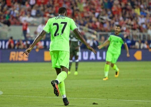 SANTA CLARA, USA - Saturday, July 30, 2016: Liverpool's Divock Origi celebrates scoring the first goal against AC Milan during the International Champions Cup 2016 game on day ten of the club's USA Pre-season Tour at the Levi's Stadium. (Pic by David Rawcliffe/Propaganda)