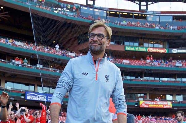 ST. LOUIS, USA - Monday, August 1, 2016: Liverpool's manager J¸rgen Klopp before a pre-season friendly game against AS Roma on day twelve of the club's USA Pre-season Tour at the Busch Stadium. (Pic by David Rawcliffe/Propaganda)