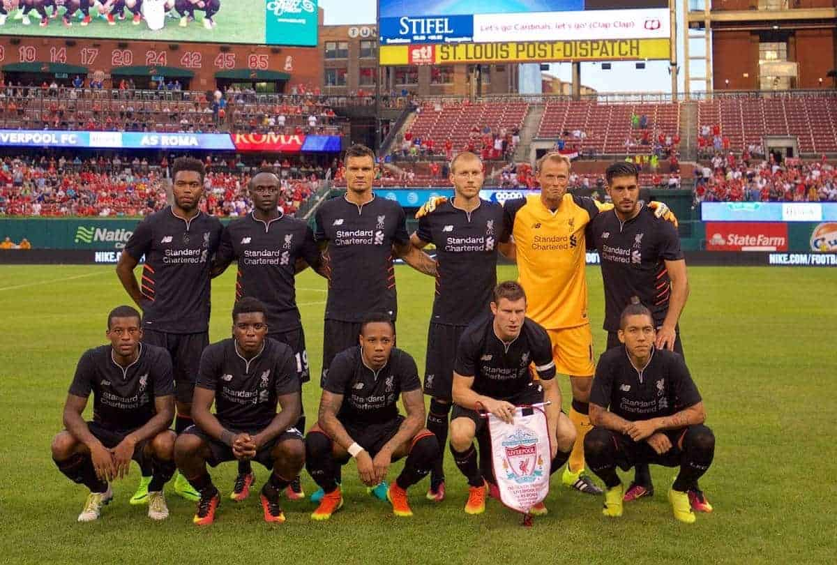 ST. LOUIS, USA - Monday, August 1, 2016: Liverpool's players line up for a team group photograph before a pre-season friendly game against AS Roma on day twelve of the club's USA Pre-season Tour at the Busch Stadium. (Pic by David Rawcliffe/Propaganda)