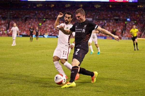 ST. LOUIS, USA - Monday, August 1, 2016: Liverpool's James Milner in action against AS Roma during a pre-season friendly game on day twelve of the club's USA Pre-season Tour at the Busch Stadium. (Pic by David Rawcliffe/Propaganda)