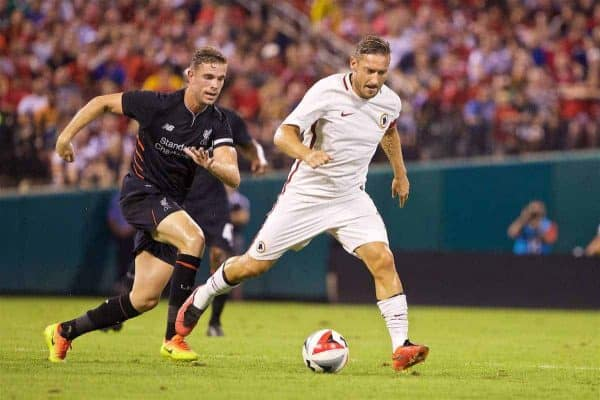 ST. LOUIS, USA - Monday, August 1, 2016: Liverpool's captain Jordan Henderson in action against AS Roma's captain Francesco Totti during a pre-season friendly game on day twelve of the club's USA Pre-season Tour at the Busch Stadium. (Pic by David Rawcliffe/Propaganda)