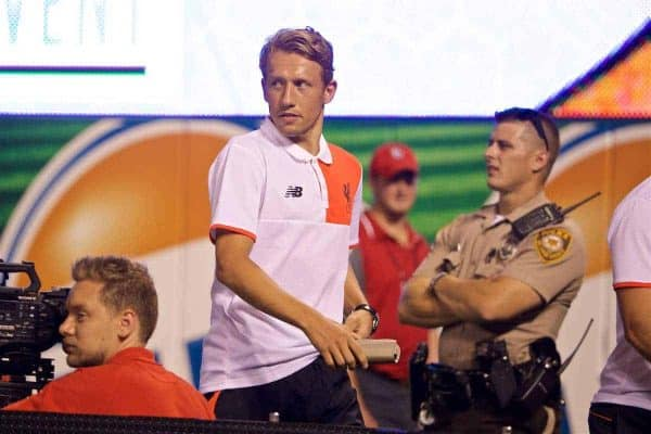 ST. LOUIS, USA - Monday, August 1, 2016: Liverpool's Lucas Leiva walks off after being sent off against AS Roma during a pre-season friendly game on day twelve of the club's USA Pre-season Tour at the Busch Stadium. (Pic by David Rawcliffe/Propaganda)