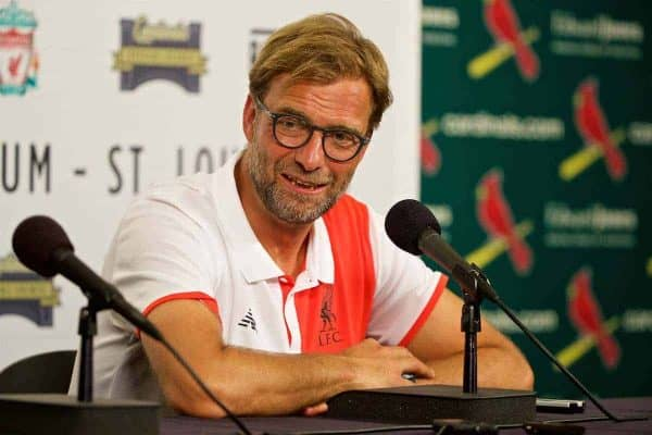 ST. LOUIS, USA - Monday, August 1, 2016: Liverpool's manager Jürgen Klopp during a post-match press conference following the 2-1 defeat to AS Roma during a pre-season friendly game on day twelve of the club's USA Pre-season Tour at the Busch Stadium. (Pic by David Rawcliffe/Propaganda)