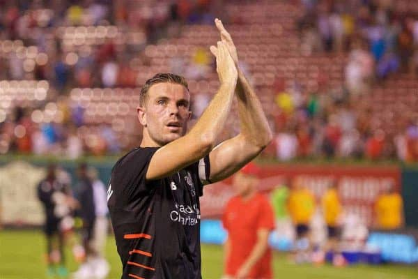 ST. LOUIS, USA - Monday, August 1, 2016: Liverpool's captain Jordan Henderson after a pre-season friendly game against AS Roma on day twelve of the club's USA Pre-season Tour at the Busch Stadium. (Pic by David Rawcliffe/Propaganda)