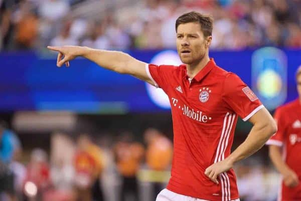 NEW JERSEY, USA - Wednesday, August 3, 2016: Bayern München's Xabi Alonso in action against Real Madrid during the International Champions Cup match at the Red Bull Arena. (Pic by David Rawcliffe/Propaganda)